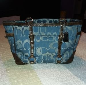 Vintage Coach bag blue with brown leather trim